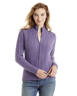 Invisible World Women's Cardigan Lilac / Small Katy Women's Three-Ply Cable Knit Pure Cashmere Cardigan