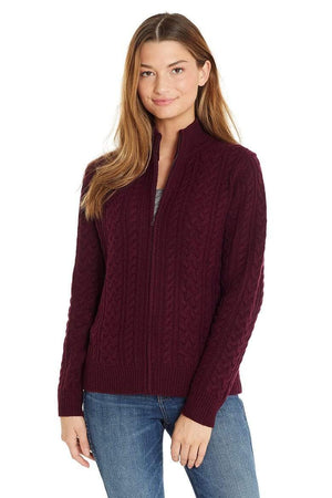 Invisible World Women's Cardigan Port / X-Small Katy Women's Three-Ply Cable Knit Pure Cashmere Cardigan