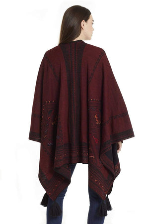 Invisible World Alpaca Poncho or Ruana Kilim Reversible Embroidered Baby Alpaca Wool Poncho Ruana for Women