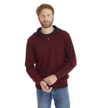 Invisible World Men's Pullover Burgundy / Small Men's Camionero Polo Neck Alpaca Jumper