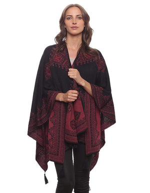 Invisible World Alpaca Poncho or Ruana Morocco Reversible Embroidered 100% Baby Alpaca Wool Poncho for Women -  Ruana Wrap