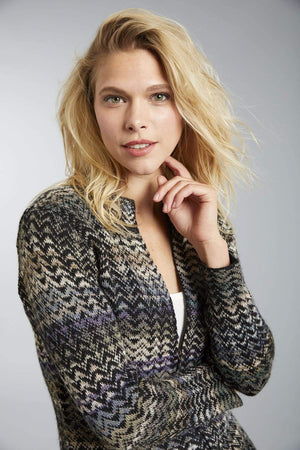 Invisible World Women's Cardigan Small Noelle Blue Zippered Alpaca Cardigan for Women