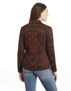 Invisible World Women's Cardigan Ophelia Embroidered 100% Alpaca Cardigan Sweater
