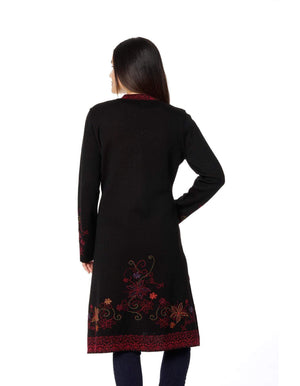 Ottoman Embroidered Baby Alpaca Long Sweater Coat for Women