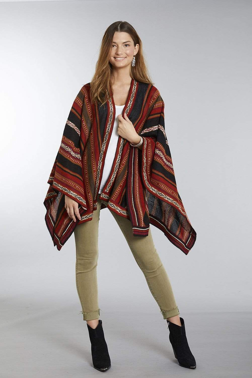 Potosi Lightweight 100% Alpaca Wool Poncho Ruana for Women