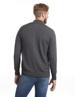 Salt and Pepper Tweed Men's Cashmere Cardigan Sweater