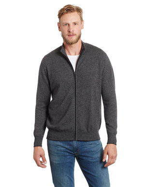 Invisible World Men's Cardigan Salt and Pepper Tweed Men's Cashmere Cardigan Sweater