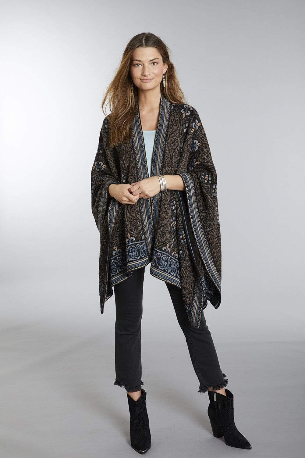Sarah Embroidered 100% Alpaca Wool Poncho Ruana for Women