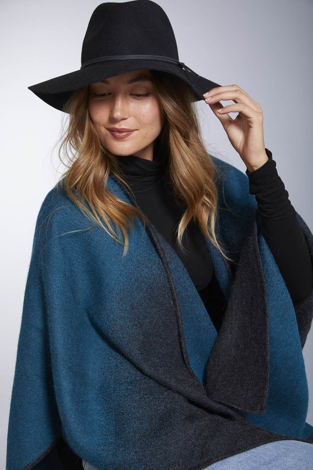 Manos del Peru Alpaca Poncho or Ruana Blue Twilight Reversible Baby Alpaca Wool Poncho Ruana for Women