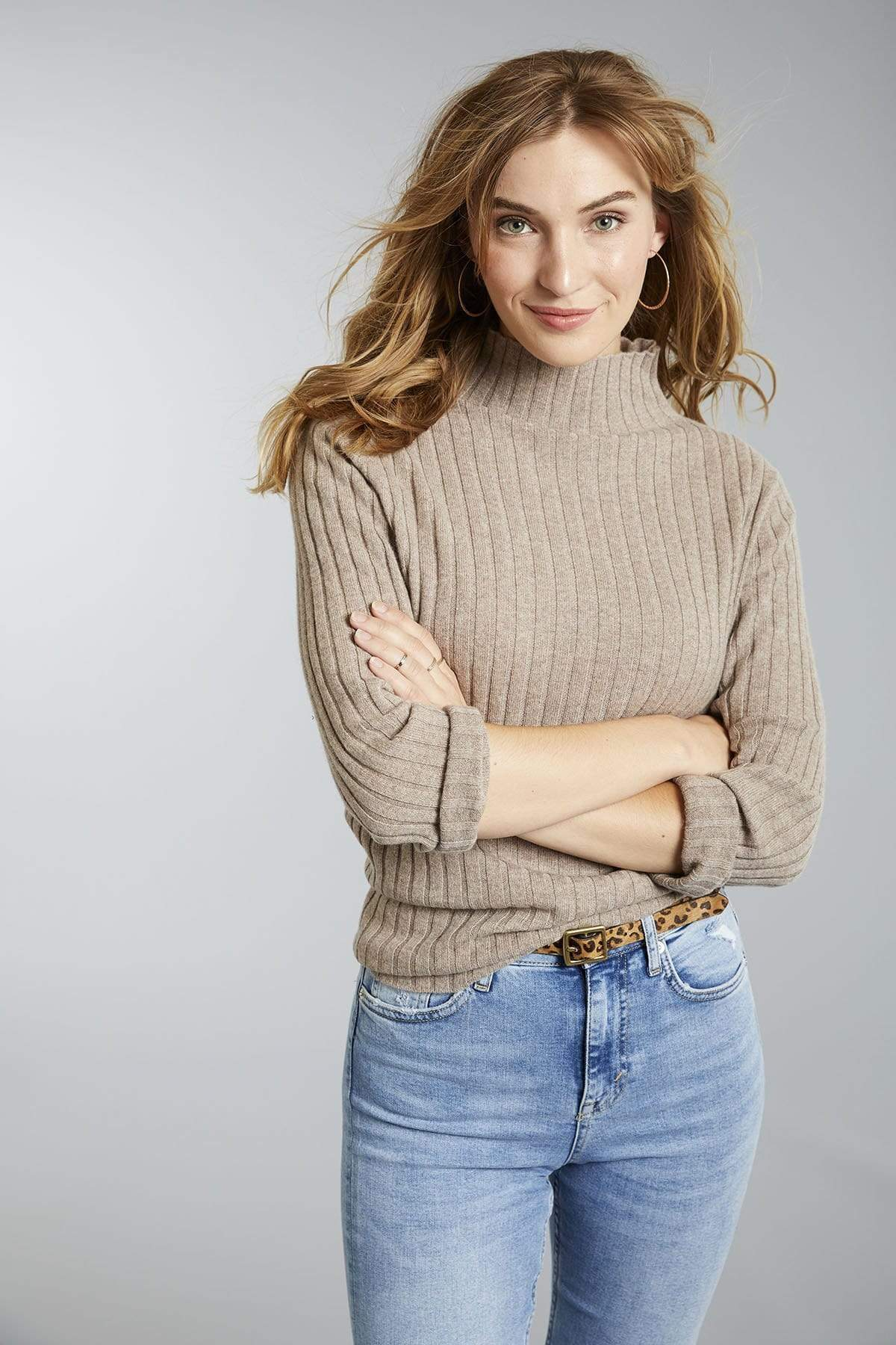 Invisible World Women's Pullover Women's Ribbed Mock Turtleneck Pure Cashmere Jumper