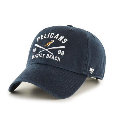 MYRTLE BEACH PELICANS 47 BRAND CROSSBRIDGE NAVY ADJUSTABLE CAP