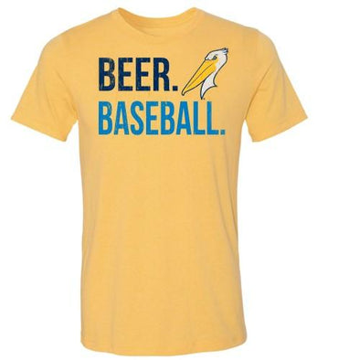 MYRTLE BEACH PELICANS 108STITCHES YELLOW BEER BALL TEE