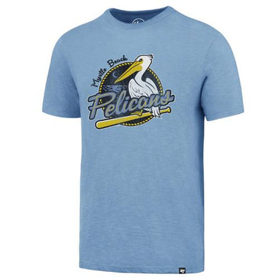 MYRTLE BEACH PELICANS 47 BRAND CAROLINA BLUE PRIMARY SCRUM TEE