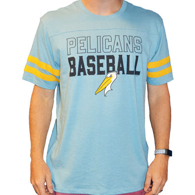 MYRTLE BEACH PELICANS 47 BRAND CAROLINA BLUE BATTERY TEE