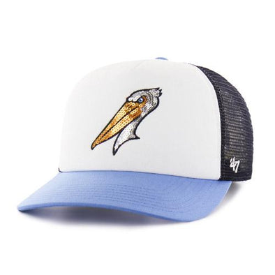 MYRTLE BEACH PELICANS 47 BRAND LADIES GLIMMER CAPTAIN CAP
