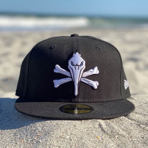 MYRTLE BEACH PELICANS PIRATE LOGO NEW ERA BLACK 59FIFTY CAP