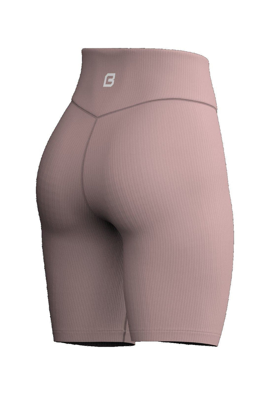 Recharge Ribbed Biker Shorts - Dusty Rose - Bodcraft