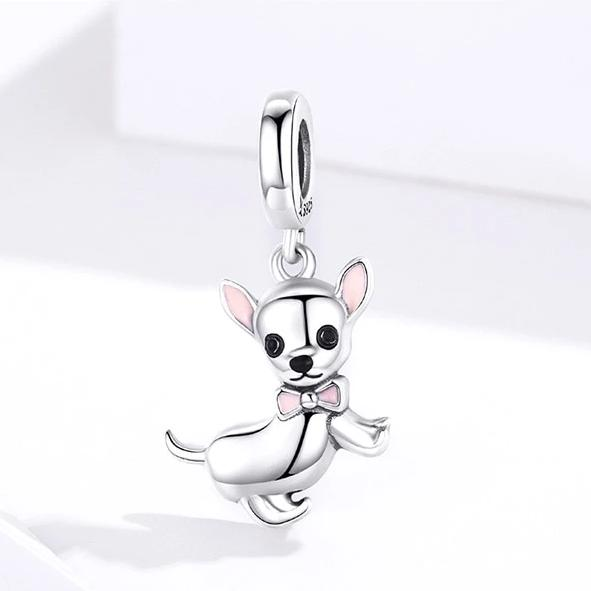 Sterling Silver Chihuahua Dog Pendant Charm