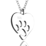 Sterling Silver Heart Dog Footprint Chain Necklace Pendant
