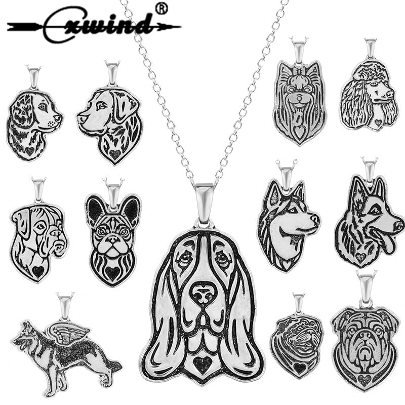Dog Charm Pendant Necklace - Multi Breeds Available