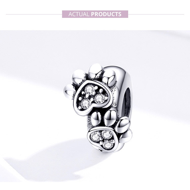 Sterling Silver Pawprint Stopper Charm for Bracelet