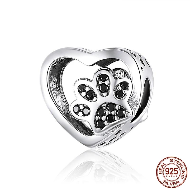 Sterling Silver PawPrints Heart Charm