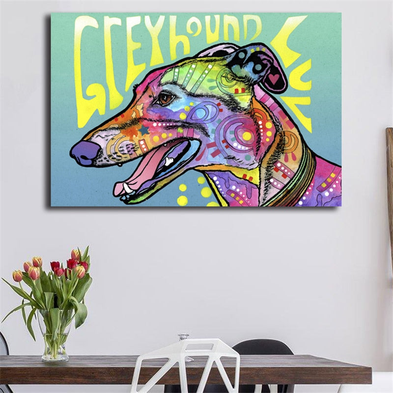 Greyhound Luv Canvas Painting Print (framed or unframed)