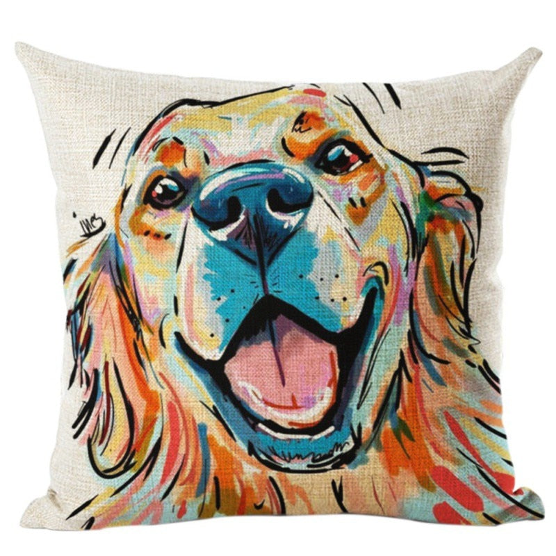 Artistic Drawing Dog Decorative Pillow Case/Cushion Cover