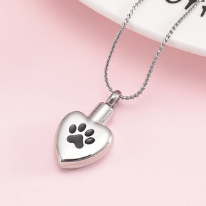 Paw Print Heart Cremation Memorial Pendant for Ashes