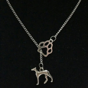 Fashion Vintage Silver Pawprint Greyhound Dog Charm Pendant Necklace
