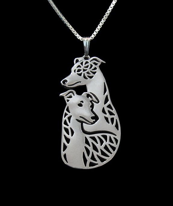 Greyhound-Whippet-Italian Greyhound Dog Duo Silver Pendant Necklace
