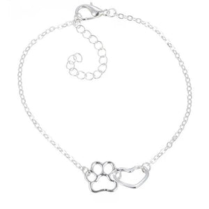 Heart Pawprint Charm Bracelet, Necklace, Earrings