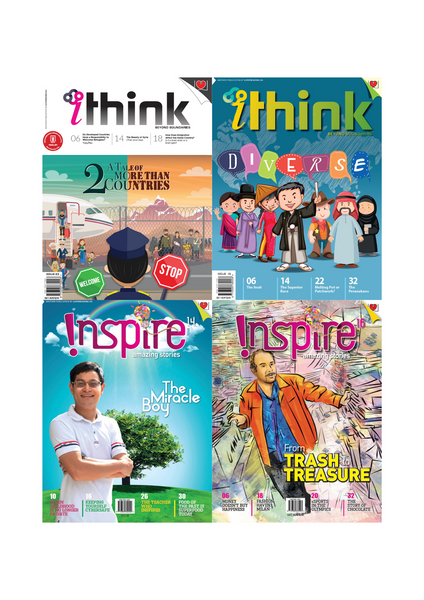 [Combo D]  Inspire Magazine (13+ y/o) and iThink Magazine (15+ y/o): 4 single issues