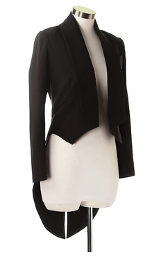 Black Long Sleeve Fishtail Jacket