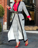 Black N White Long Sleeve Two Piece Suit