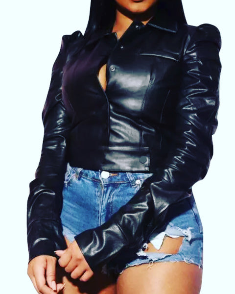 Faux Leather Long Sleeve Shirt