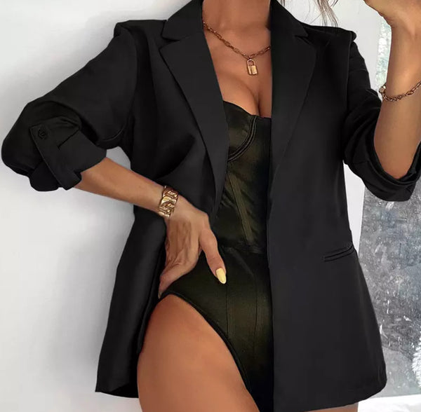 Casual Solid Long Sleeve Blazer (Pre-Order)