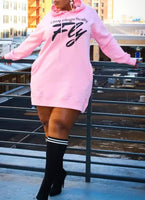 Plus Size Hooded Sweatshirt Dress (Pre-order)
