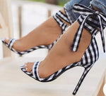 Plaid High Sandals Women Cross-Tied Heels Ladies Ankle Strap Lace Up (preorder)