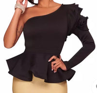 Ruffle One Shoulder Blouse (preorder)