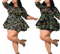 Camouflage Print Full Sleeve Dress (Pre-Order)