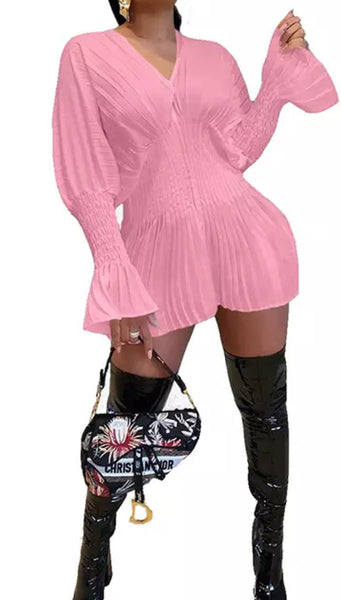 Bodycon Corset Mini  Long Sleeve V-Neck Dress (Pre-Order)