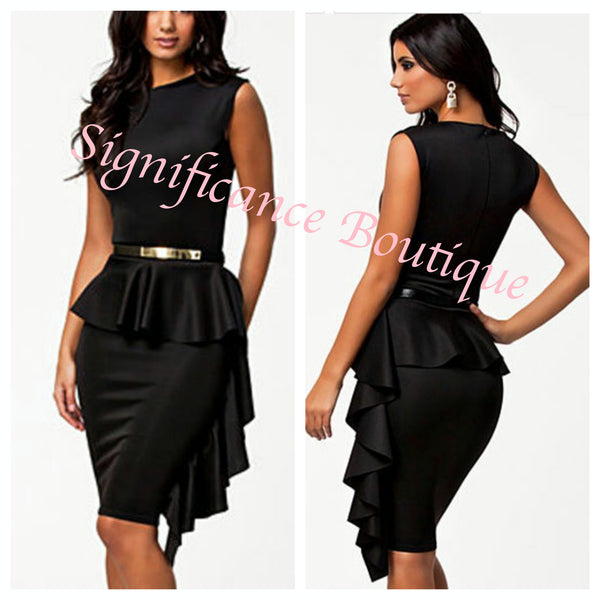 Black Ruffle Career Dress