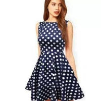 Blue N White Polka Dot Dress