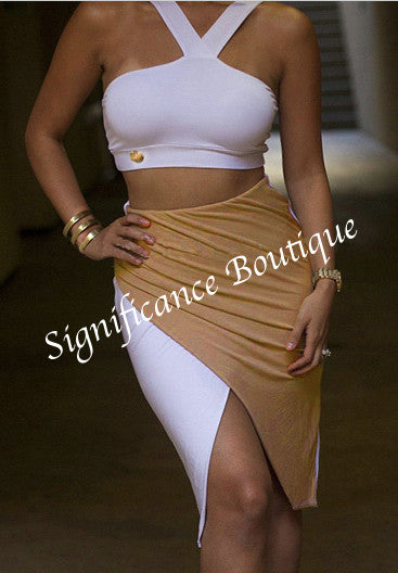 Gold N White Front Split Skirt