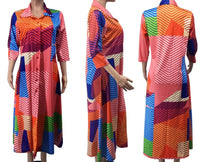 Colorful Wave Printed Shirt Dress (Pre-Order)