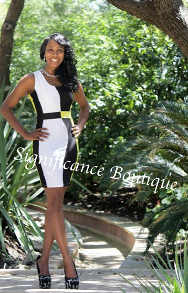 Black N Yellow Career Dress