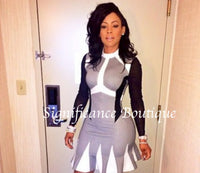 Gray, Black N White Vintage BodyCon Dress