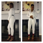 White Long Sleeve Jumpsuit