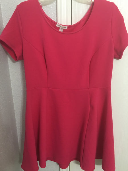 Pink Short Sleeve Flare Dress